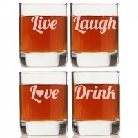Live Laugh Love Drink Rock Glasses (Set of 4)