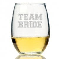 Team Bride Tall Stemless Wine Glass (Set of 4)