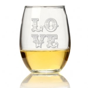 Love Ornate Stemless Wine Glass (Set of 4) image