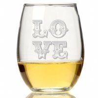 Love Ornate Stemless Wine Glass (Set of 4)
