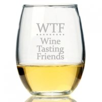 WTF Wine Tasting Friends Stemless Wine Glass (Set of 4)