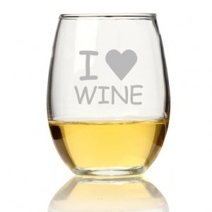 I Love Wine Stemless Wine Glass (Set of 4) image