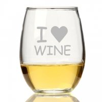 I Love Wine Stemless Wine Glass (Set of 4)