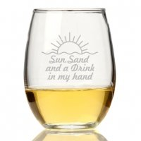 Sun Sand And A Drink In My Hand Stemless Wine Glass (Set of