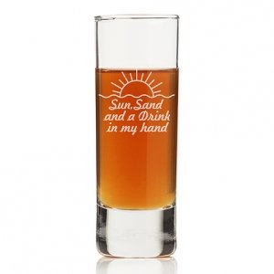 Sun Sand And A Drink In My Hand Tall Shot Glass (Set of 4) image
