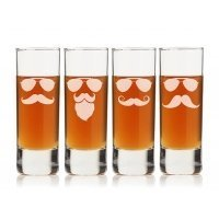 Mustache and Sunglasses Tall Shot Glass (Set of 4)