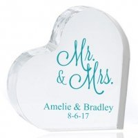 Mr. and Mrs. Personalized Heart Cake Topper