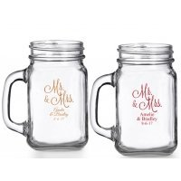 Mr. and Mrs. Personalized Mason Glasses