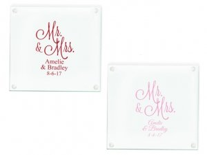 Mr. and Mrs. Personalized Glass Coasters Favors image