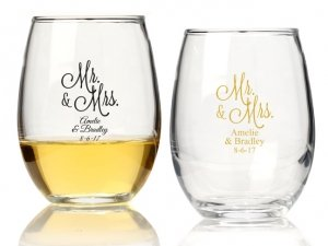 Mr. and Mrs. Personalized 9 oz Stemless Wine Glass image