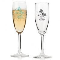 Mr. and Mrs. Personalized Champagne Flutes