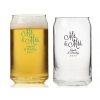 Mr. and Mrs. Personalized Can Glass