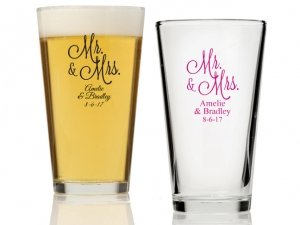 Mr. and Mrs. Personalized 16 oz Pint Glass image