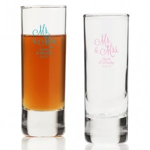 Mr. and Mrs. Personalized Tall Shot Glass image