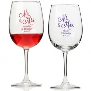Mr. and Mrs. Personalized Wine Glass image