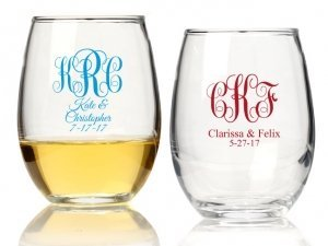 Intertwined Monogram Personalized 15 oz Stemless Wine Glass image