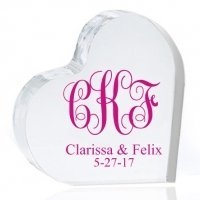 Intertwined Monogram Personalized Heart Cake Topper