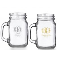 Intertwined Monogram Personalized Mason Glasses
