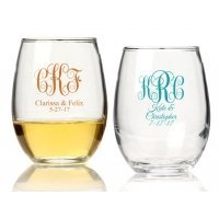 Intertwined Monogram Personalized 9 oz Stemless Wine Glass