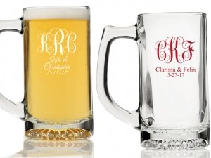 Intertwined Monogram Personalized Beer Mugs image