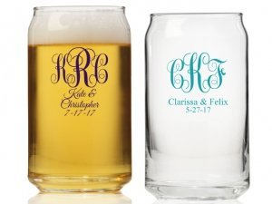 Intertwined Monogram Personalized Can Glass image