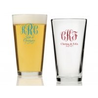 Intertwined Monogram Personalized 16 oz Pint Glass