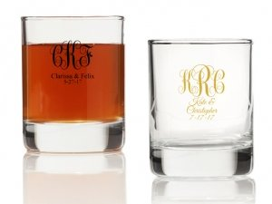 Intertwined Monogram Personalized Votives or Shot Glass image