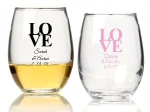 Love Personalized 15 oz Stemless Wine Glass image