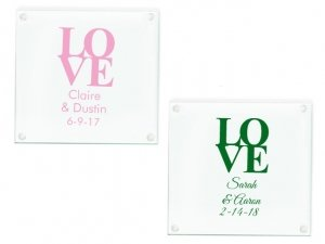 Love Personalized Glass Coasters Favors image