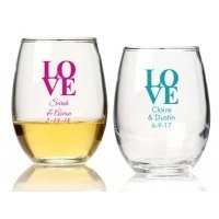 Love Personalized 9 oz Stemless Wine Glass