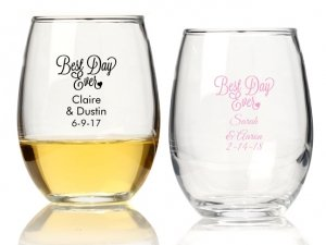 Best Day Ever Personalized 15 oz Stemless Wine Glass image