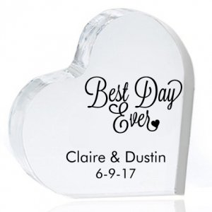 Best Day Ever Personalized Heart Cake Topper image