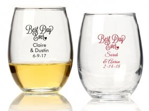 Best Day Ever Personalized 9 oz Stemless Wine Glass image
