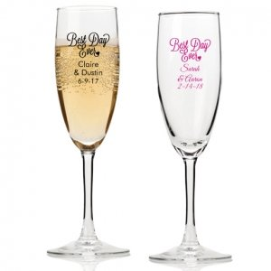 Best Day Ever Personalized Champagne Flutes image