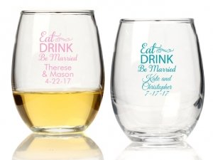 Eat Drink Be Married Personalized 15 oz Stemless Wine Glass image