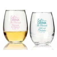 Eat Drink Be Married Personalized 15 oz Stemless Wine Glass