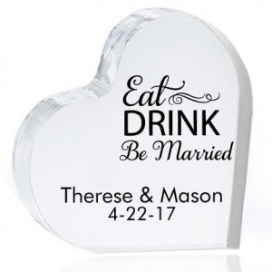 Eat Drink Be Married Personalized Heart Cake Topper image