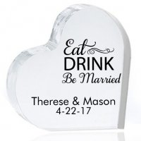 Eat Drink Be Married Personalized Heart Cake Topper