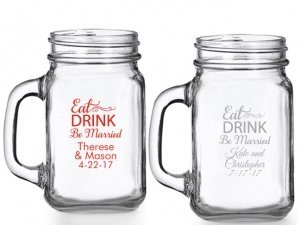 Eat Drink Be Married Personalized Mason Glasses image