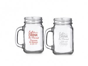 Eat Drink Be Married Personalized Mini Mason Glass image