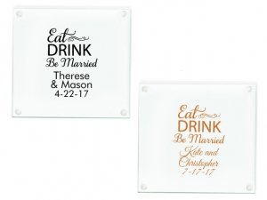 Eat Drink Be Married Personalized Glass Coasters Favors image
