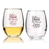 Eat Drink Be Married Personalized 9 oz Stemless Wine Glass