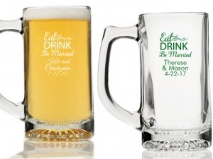 Eat Drink Be Married Personalized Beer Mugs image