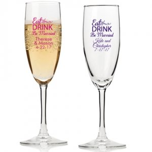 Eat Drink Be Married Personalized Champagne Flutes image