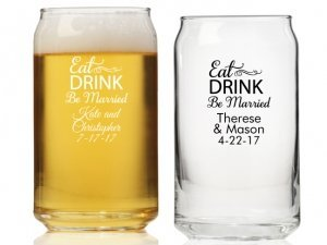 Eat Drink Be Married Personalized Can Glass image