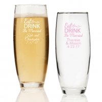 Eat Drink Be Married Personalized Stemless Champagne Glass