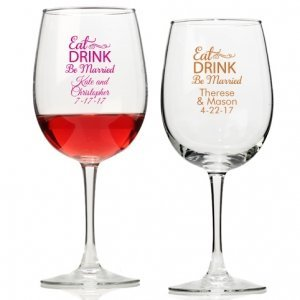 Eat Drink Be Married Personalized Wine Glass image