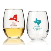 State Love Personalized 15 oz Stemless Wine Glass