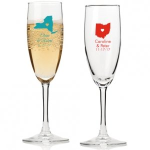 State Love Personalized Champagne Flutes image