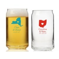 State Love Personalized Can Glass